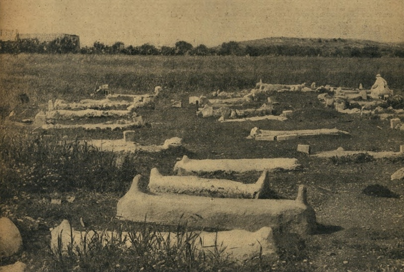 Graves of the massacre's victims, 1957.
